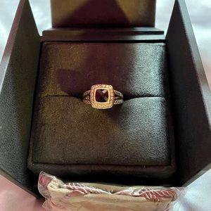 David Yurman Petite Albion Onyx Diamond Ring 5.5
